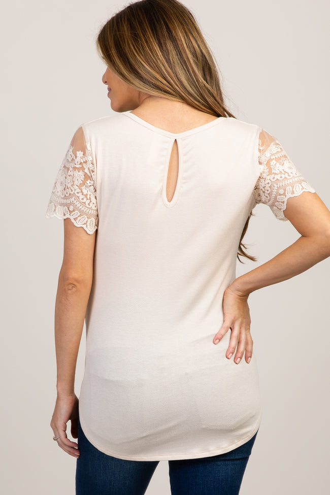 Cream Lace Sleeve Maternity Top