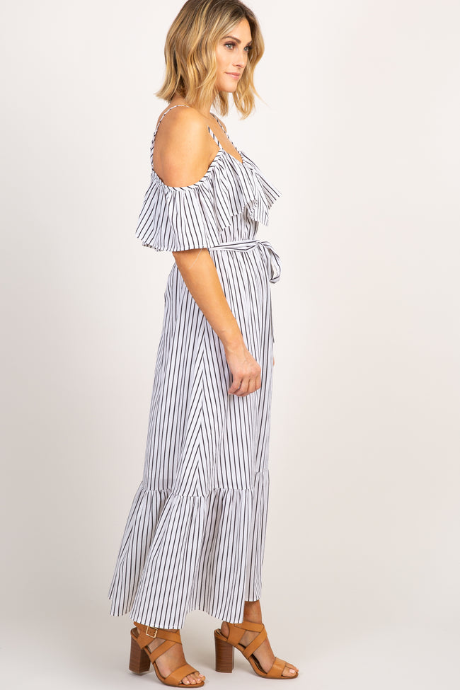 White Striped Cold Shoulder Maxi Dress
