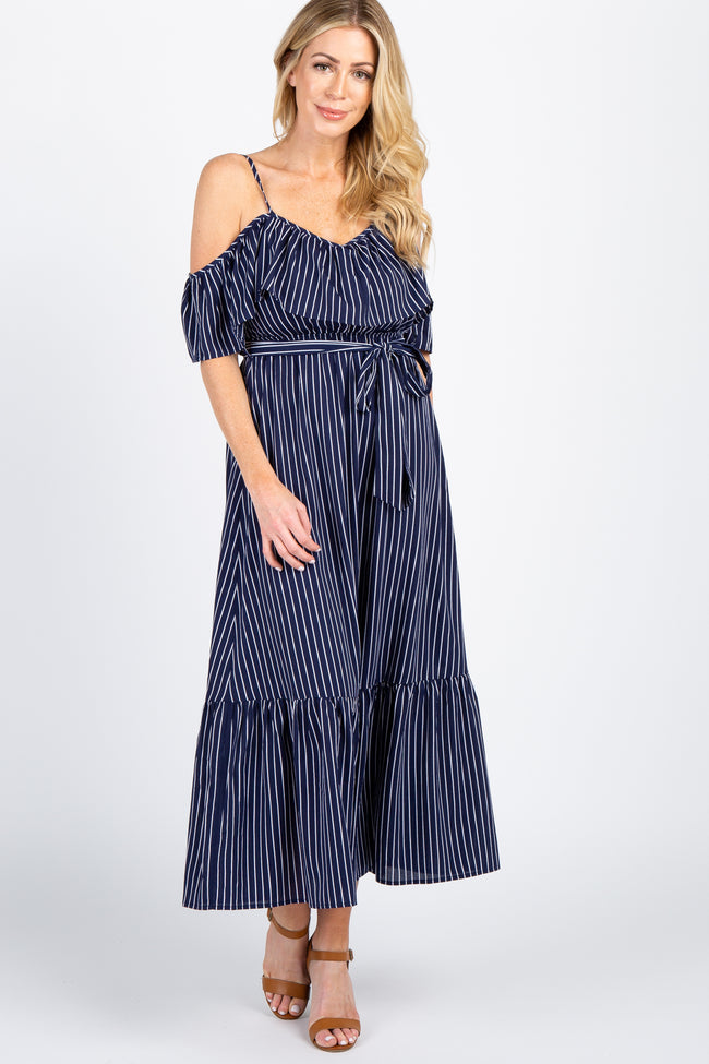 Navy Striped Cold Shoulder Maxi Dress