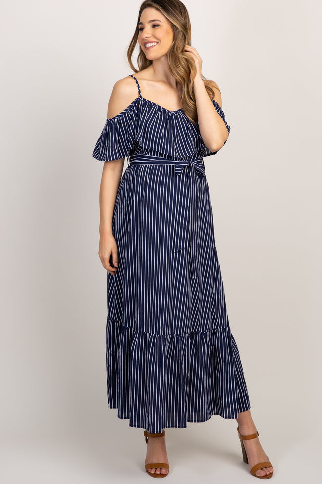 Navy Striped Cold Shoulder Maternity Maxi Dress