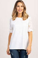 White Eyelet Lace Sleeve Maternity Top