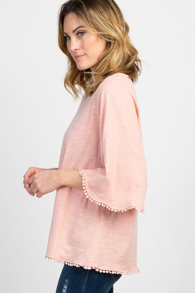 Peach 3/4 Scalloped Sleeve Crochet Trim Top