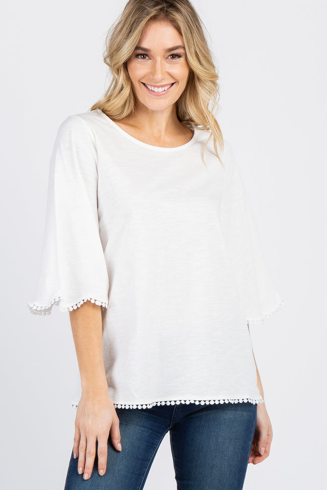 Ivory 3/4 Scalloped Sleeve Crochet Trim Top