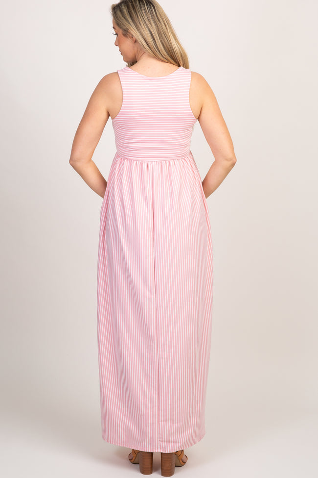 Mauve Striped Sleeveless Maternity Maxi Dress