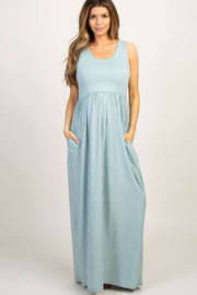 Mint Striped Sleeveless Maternity Maxi Dress
