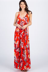 Red Floral Self Tie Maxi Maternity Maxi Dress