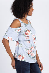 Pale Blue Floral Cold Shoulder Layered Nursing Top