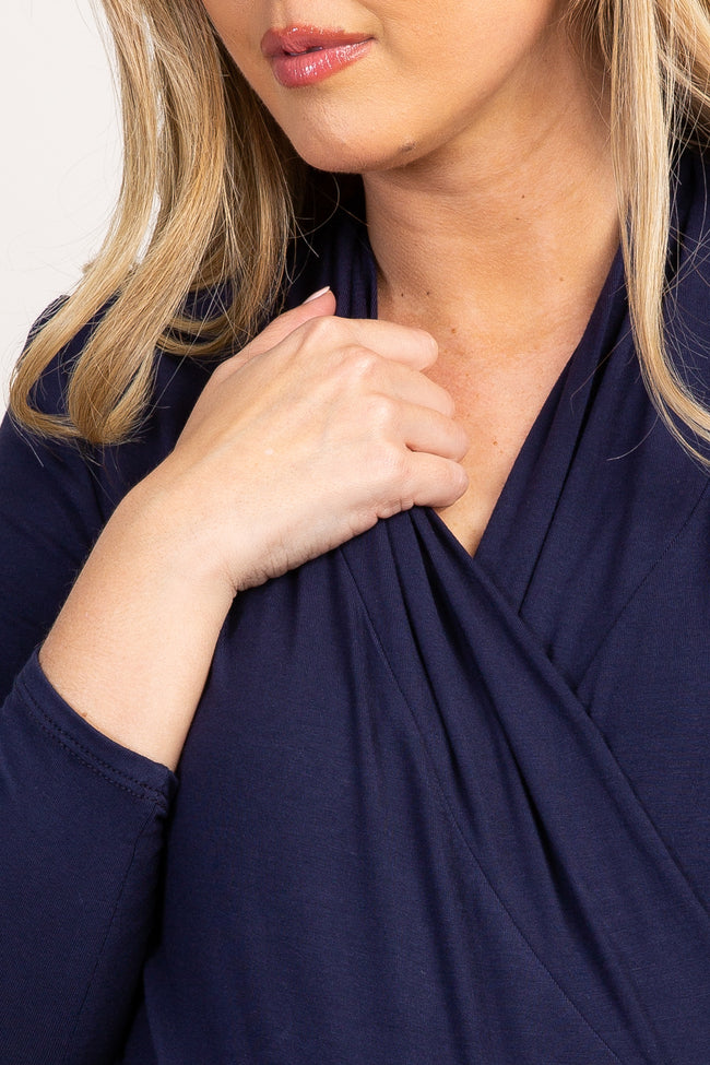 Navy Blue Long Sleeve Wrap Maternity/Nursing Top