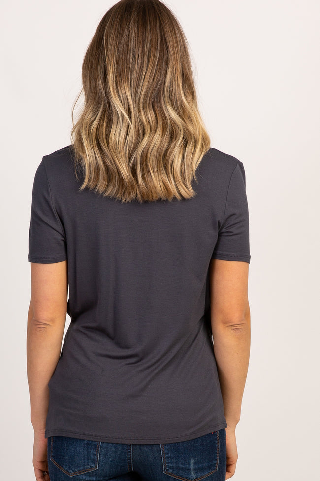 Charcoal Solid Short Sleeve Wrap Front Nursing Top