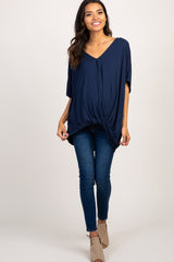 Navy Blue V-Neck Front Twist Hem Maternity Top