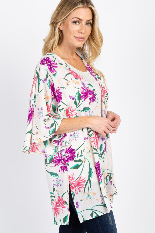 Ivory Floral 3/4 Sleeve Cover Up