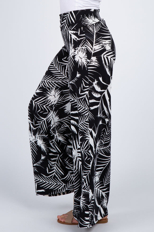 Black Abstract Palm Print Pants