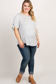 Grey Striped Sleeve Tie Plus Maternity Top