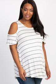 Heather Grey Striped Cold Shoulder Maternity Plus Top