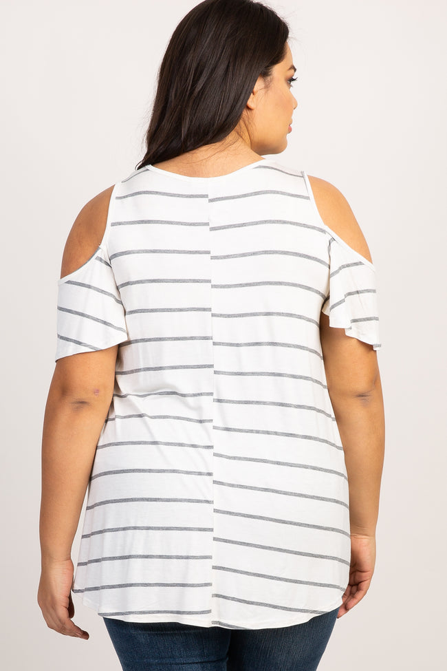 Heather Grey Striped Cold Shoulder Plus Top