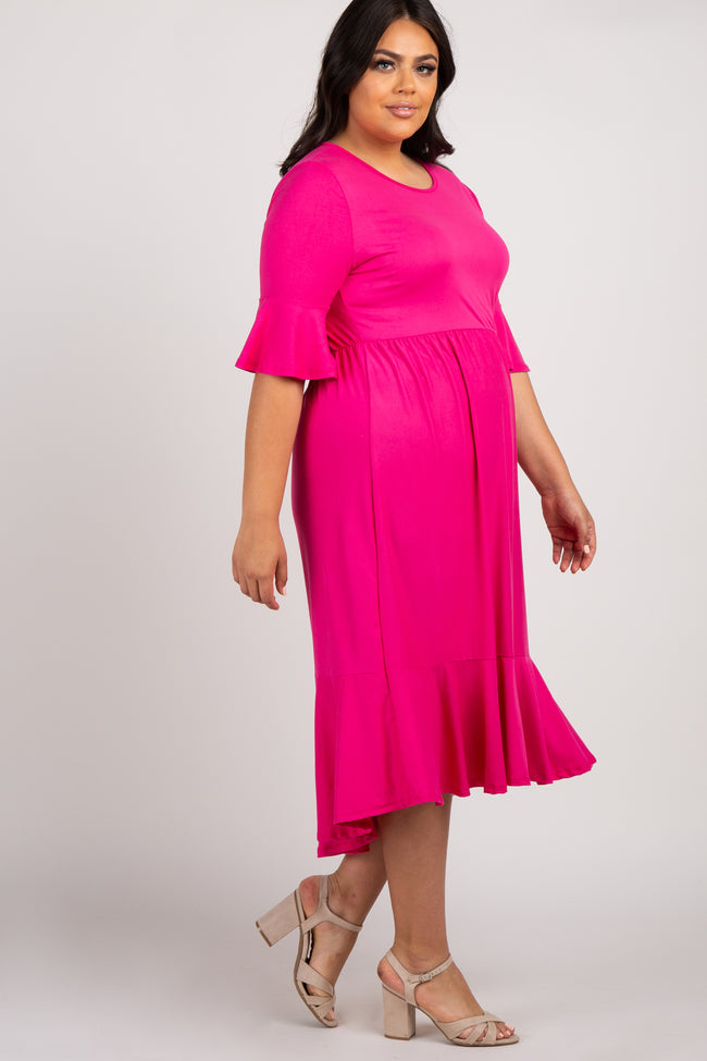 Fuchsia Solid Ruffle Trim Plus Midi Dress