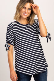 Navy Blue Striped Tie Sleeve Top