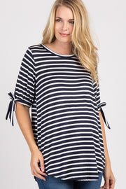 Navy Blue Striped Tie Sleeve Maternity Top