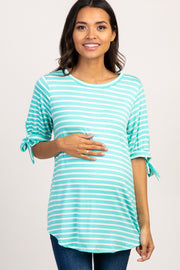 Mint Striped Tie Sleeve Maternity Top