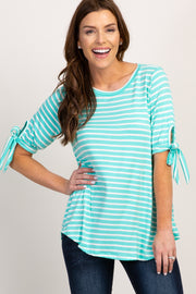 Mint Striped Tie Sleeve Top