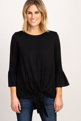 Black Tie Front Ruffle Sleeve Maternity Top
