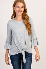 Grey Tie Front Ruffle Sleeve Maternity Top