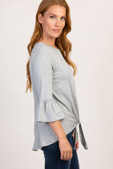 Grey Tie Front Ruffle Sleeve Top
