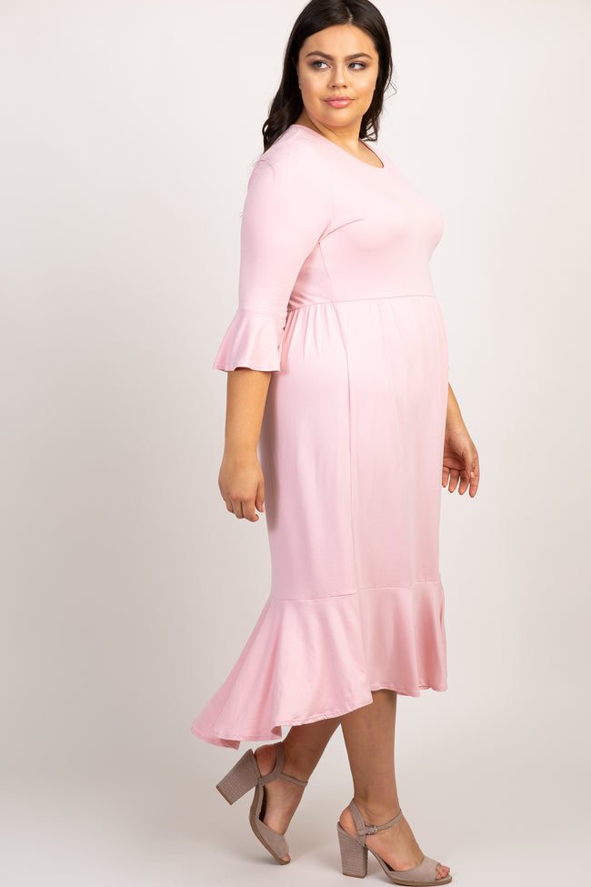 Pink Ruffle Trim Hi-Low Plus Dress