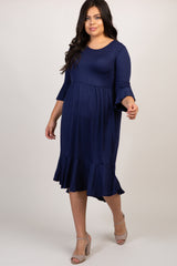 Navy Blue Ruffle Trim Hi-Low Maternity Plus Dress
