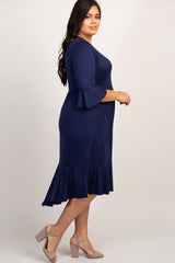 Navy Blue Ruffle Trim Hi-Low Plus Dress