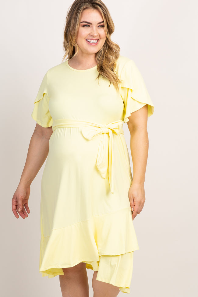 Yellow Solid Ruffle Accent Wrap Skirt Plus Maternity Dress