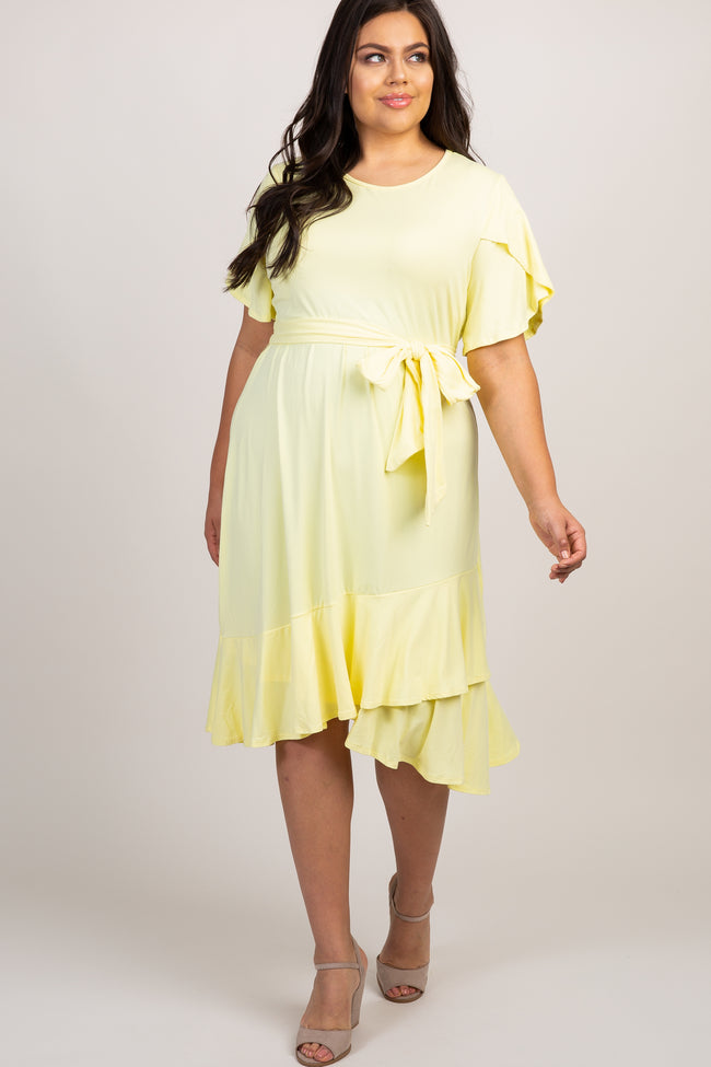 Yellow Solid Ruffle Accent Wrap Skirt Plus Dress