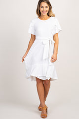 Ivory Solid Flounce Trim Maternity Dress