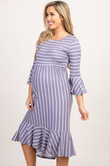 Lavender Striped Pleated Waist Ruffle Trim Maternity Midi Dress