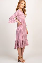 Mauve Striped Pleated Waist Ruffle Trim Midi Dress