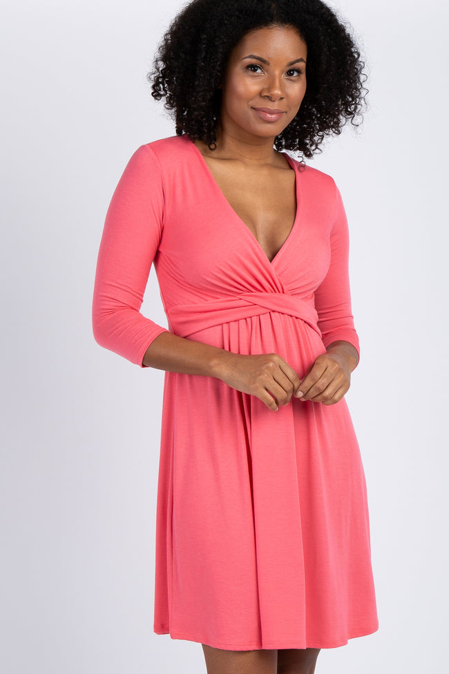 Coral Wrap 3/4 Sleeve Nursing Dress