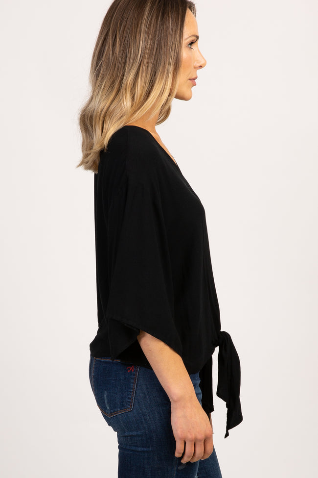 Black Bell Sleeve Tie Front Top