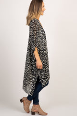 Black Printed Short Sleeve Hi-Low Kimono