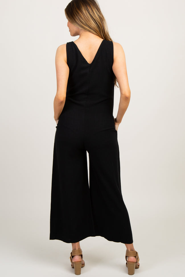 Black Solid V Neck Sleeveless Maternity Jumpsuit