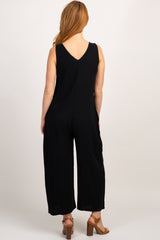 Black Solid V Neck Sleeveless Jumpsuit