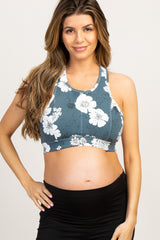 Teal Floral Cutout Back Maternity Sports Bra