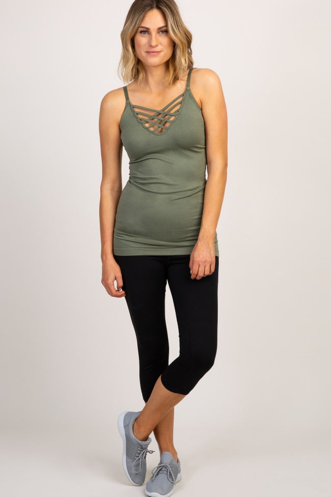 Light Olive Cross Front Cami