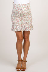 Cream Floral Smocked Ruffle Accent Maternity Skirt