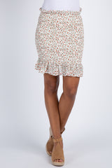 Cream Floral Smocked Ruffle Accent Skirt