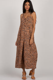 Mocha Animal Print Button Front Maternity Jumpsuit