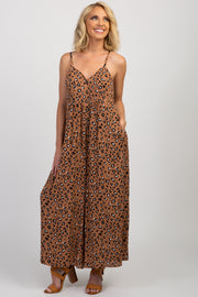 Mocha Animal Print Button Front Jumpsuit