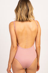 Mauve Solid Ribbed Button Front One-Piece Swimsuit