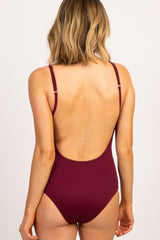 Burgundy Solid Ribbed Button Front One-Piece Swimsuit