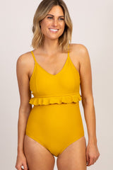 Yellow Ruffle Waist V-Neck One-Piece Swimsuit