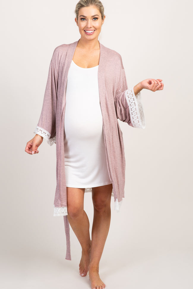 Mauve Crochet Trim Maternity Delivery/Nursing Robe